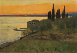 Autumn evening at Lago Di Garda (San Vigilio) | Curt Agthe | Oil Painting