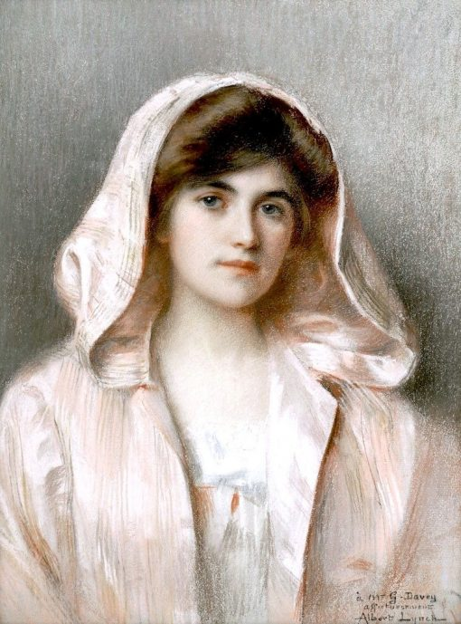 Portrait of a Young Lady in a Pink Cloak | Albert Lynch | Oil Painting