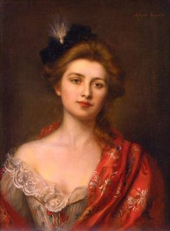 Woman in a Red Embroidered Shawl | Albert Lynch | Oil Painting