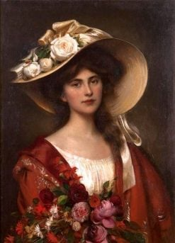 Portrait of a Young Woman in a Hat Holding a Bouquet of Flowers | Albert Lynch | Oil Painting