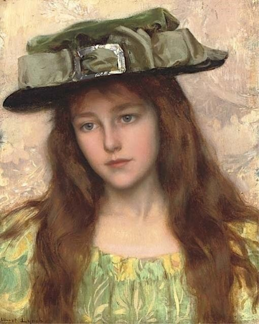 A Young Beauty in a Green Hat | Albert Lynch | Oil Painting