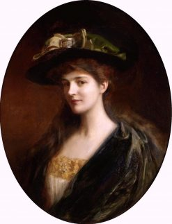 Portrait of a Lady Wearing a Green Hat | Albert Lynch | Oil Painting