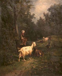Peasant with Goats | Andrés Cortés y Aguilar | Oil Painting