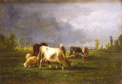 Shepherd and Her Flock | Andrés Cortés y Aguilar | Oil Painting