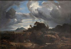 Landscape with Peasants | Andrés Cortés y Aguilar | Oil Painting