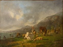 Herd of Cows and Herdsman in a Pasture at the Seashore | Andrés Cortés y Aguilar | Oil Painting
