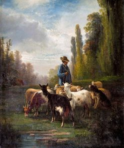 Shepherd with Flock and Dog | Andrés Cortés y Aguilar | Oil Painting