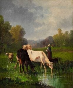 Cows and Shepherdess on the Shore of a Body of Water | Andrés Cortés y Aguilar | Oil Painting