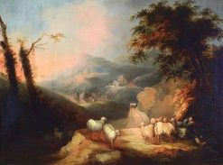 Resting Shepherd with Sheep in Mountainous Landscape | Andrés Cortés y Aguilar | Oil Painting