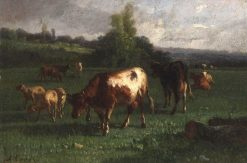 Cows and Sheep in a Pasture | Andrés Cortés y Aguilar | Oil Painting