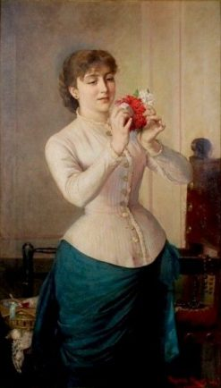 Young Woman with Bouquet   Ricardo Martí Aguiló   Oil Painting