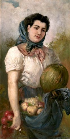 Young Woman with Fruits | Ricardo Martí Aguiló | Oil Painting