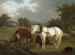A rural landscape with a ploughman resting with his grey horse