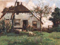 Farmhouse with Goat   Johannes Evert Hendrik Akkeringa   Oil Painting