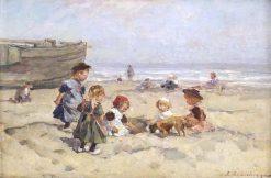 Children Playing on the Beach | Johannes Evert Hendrik Akkeringa | Oil Painting