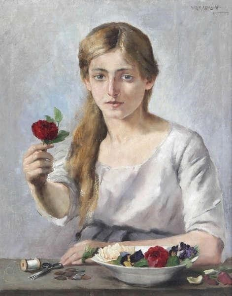 Seamstress with Rose | Willem Albracht | Oil Painting