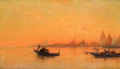 A View of Venice at Sunset | Mariano Barbasan Lagueruela | Oil Painting