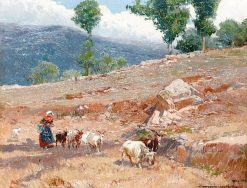 Goatherder in a Landscape | Mariano Barbasan Lagueruela | Oil Painting