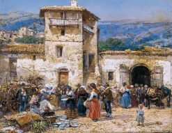 Market in Anticoli Corrado | Mariano Barbasan Lagueruela | Oil Painting