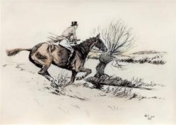 Huntsman Readying to Jump a Stream   Cecil Charles Windsor Aldin   Oil Painting