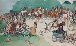 Bluemarket Races - On the Road | Cecil Charles Windsor Aldin | Oil Painting