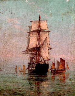 Fishing Smacks and Square Rigged Ship in the Calm | Frederick James Aldridge | Oil Painting