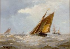 Choppy Sea with Numerous Sailing Boats | Frederick James Aldridge | Oil Painting