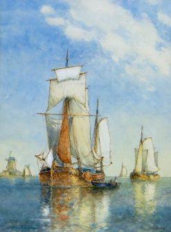 On The Scheldt | Frederick James Aldridge | Oil Painting