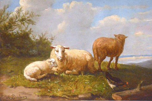 Sheep in a Meadow   Auguste Bonheur   Oil Painting