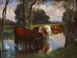 Cattle Watering in a Stream | Auguste Bonheur | Oil Painting