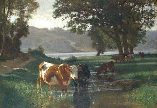 Cattle Watering | Auguste Bonheur | Oil Painting