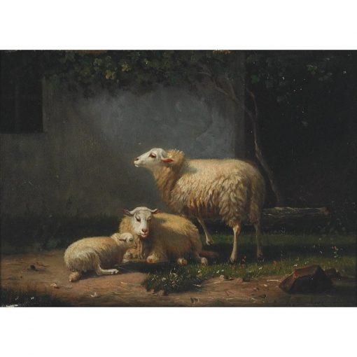 Sheep in a Farmyard | Auguste Bonheur | Oil Painting