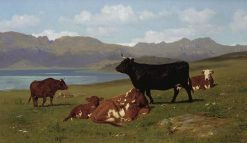 Cattle Grazing on a Hillside with a Lake in the near Distance | Auguste Bonheur | Oil Painting