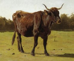 A Cow Grazing in a Meadow | Auguste Bonheur | Oil Painting