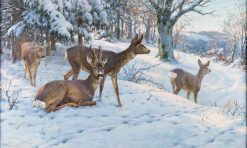 Deer in a Winter Landscape | Rosa Bonheur | Oil Painting