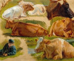 Study of Cows and a Country Boy | Rosa Bonheur | Oil Painting