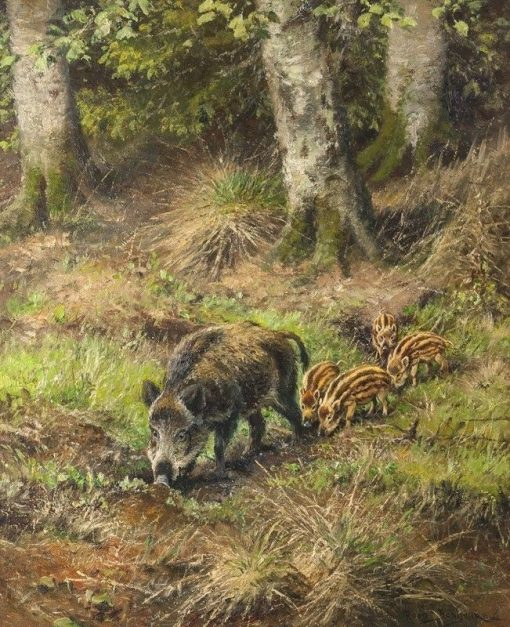 Wild Boar with Piglets | Rosa Bonheur | Oil Painting