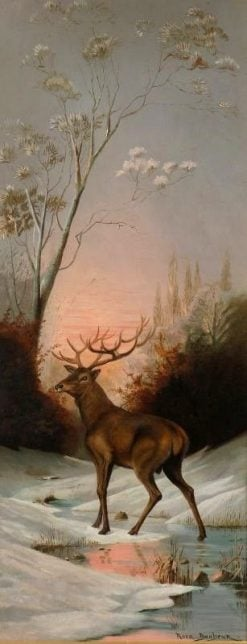 Snow Scene with Stag in the Woods | Rosa Bonheur | Oil Painting