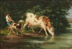 Shepherd Boy with a Cow and Her Calf at the Water | Rosa Bonheur | Oil Painting