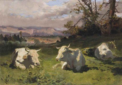 Blonde D'Aquitaine resting | Rosa Bonheur | Oil Painting