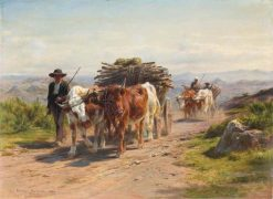 Carts with Cows and Cowherd in the Augergne | Rosa Bonheur | Oil Painting