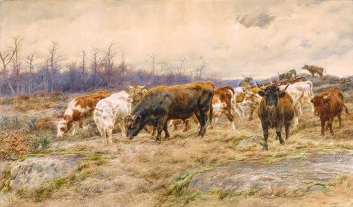 Cattle Grazing in a Winter Landscape | Rosa Bonheur | Oil Painting