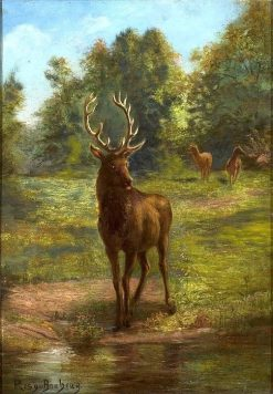 Deer Coming to the Book to Drink | Rosa Bonheur | Oil Painting