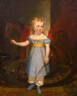 Portrait of a Blond Curly-Haired Boy with a Rocking Horse: Quincy Adams Shaw as a Boy | Francis Alexander | Oil Painting