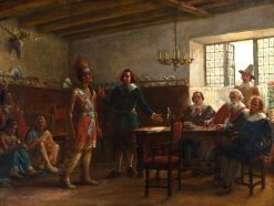 Massasoit Signing a Treaty   Jennie Brownscombe   Oil Painting