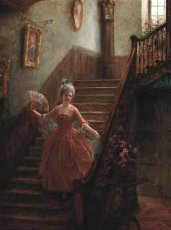 Descending the Staircase   Jennie Brownscombe   Oil Painting