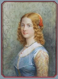 Florentine Girl   Jennie Brownscombe   Oil Painting