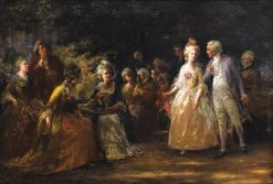 Tea in the Garden   Jennie Brownscombe   Oil Painting