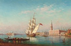 Gondolas and trading vessels before the Doge's Palace