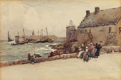 Harbor Scene with Figures | Robert Weir Allan | Oil Painting